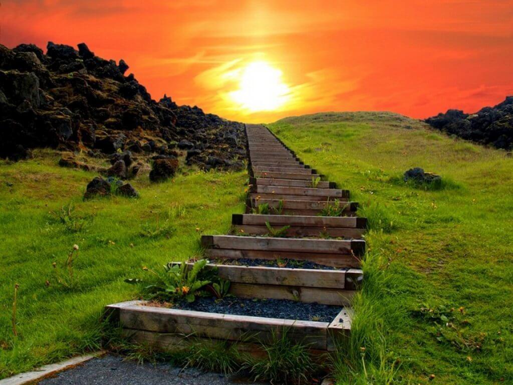 Camino de escaleras simbolizando a las personas que no se dan por vencida